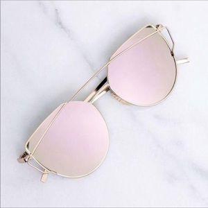 Pink Cateye Mirror Sunglasses